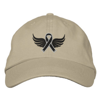 Melanoma Ribbon Wings Embroidered Hat