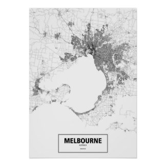 Melbourne, Australia (black on white, custom) Poster