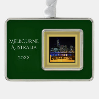 Melbourne Australia City Lights at Queen's Bridge Silver Plated Framed Ornament