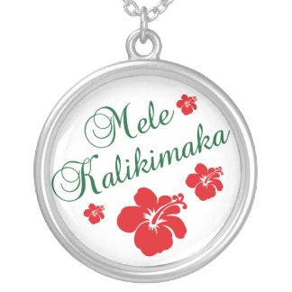 Mele Kalikimaka Silver Plated Necklace