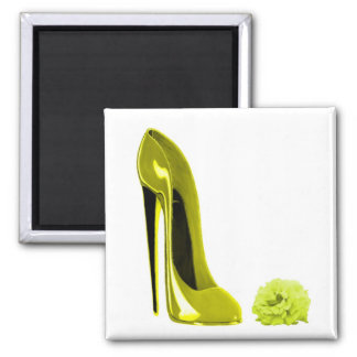 Mellow Yellow Stiletto Shoe and Rose Magnets