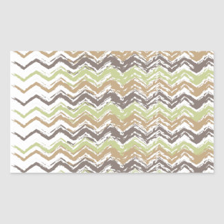 Melon Brandy Scribble ZigZag Pattern Rectangular Sticker