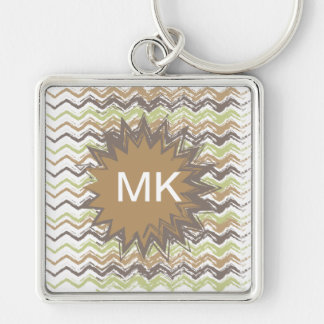 Melon Brandy Scribble ZigZag Pattern Silver-Colored Square Key Ring