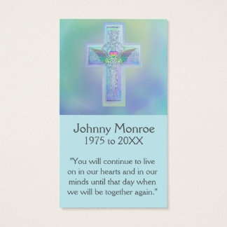 Memorial Card | Blue Glowing Cross