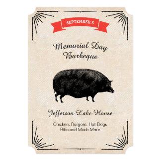 Memorial Day Barbeque BBQ Picnic Black Vintage Pig Card