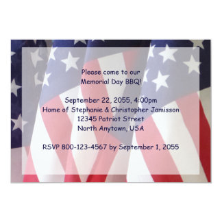 Memorial Day Barbeque Invitation, American Flags Card