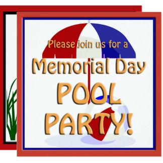 Memorial Day Pool Party Invite