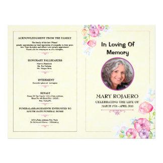 Memorial Funeral Program Template 21.5 Cm X 28 Cm Flyer