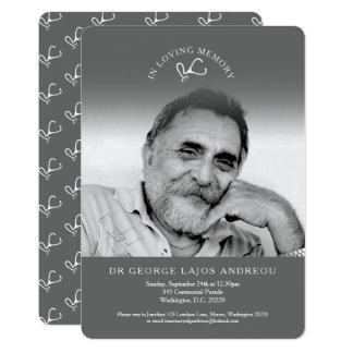 Memorial photo grey doctor funeral invitations