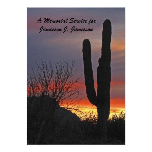 Memorial Service Invitation, cactus at Sunset