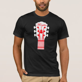 Memphis guitar white/red on black T-Shirt