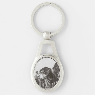 Men At Work Black & White Oval Metal Keychain Silver-Colored Oval Key Ring
