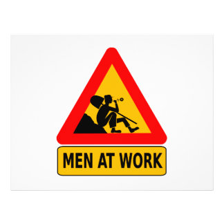 Men at work traffic sign custom flyer