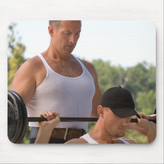 Men lifting barbell mouse pad