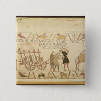 Men pulling a cart loaded with wine and arms 15 cm square badge