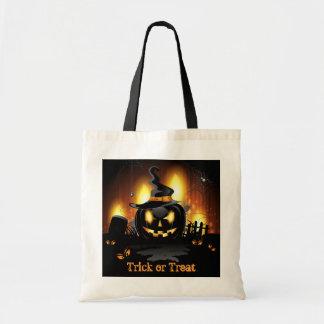 Menacing Black Pumpkin Halloween Tote Bag