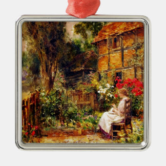 Mending in a Cottage Garden Silver-Colored Square Decoration
