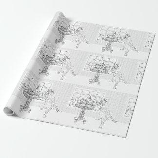 Menorah Cat Coloring Gift Wrap Wrapping Paper
