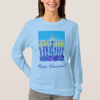 Menorah Happy Chanukah! Blue Long SleevedTee T-Shirt