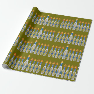 Menorah with Shalom in Candle Flames on Olive Wrapping Paper
