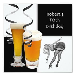 Mens 70th Birthday Check Retro Girl PINUP Beer 13 Cm X 13 Cm Square Invitation Card
