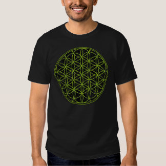Mens Black and Green Flower of Life T-shirt