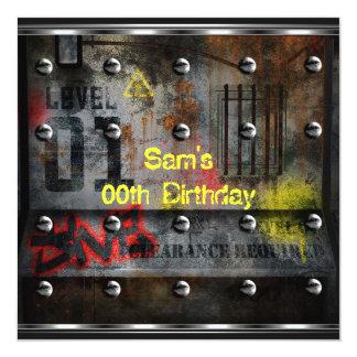 Mens Boys Birthday Party Urban Graffiti 13 Cm X 13 Cm Square Invitation Card