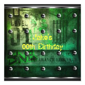 Mens Boys Birthday Party Urban Graffiti Green 13 Cm X 13 Cm Square Invitation Card