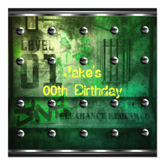 Mens Boys Birthday Party Urban Graffiti Green Card