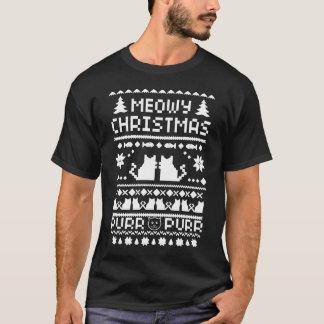 Men's Dark Meowy Christmas Ugly Cat T-Shirt