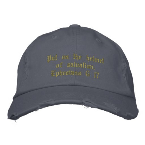 Men's distressed hat blue, inspirational. embroidered baseball cap
