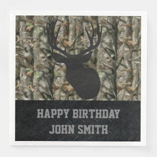 Men's Happy Birthday Camo Deer Hunting Napkins Paper Napkin