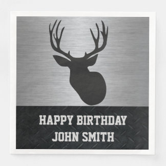 Men's Happy Birthday Deer Hunting Napkins Disposable Serviette