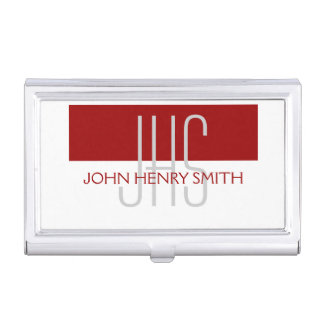 Men's monogram red white gray business card holder