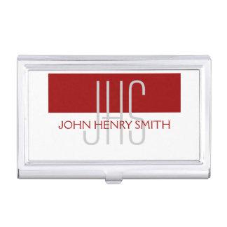 Men's monogram red white gray business card holder