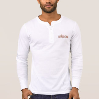Men's placket T-shirt with 'miaow'