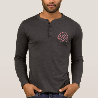 Men's placket T-shirt with red polka dots