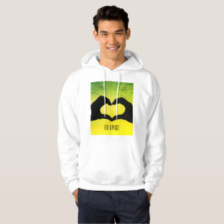 Men's pullover hoodie. Love and peace.
