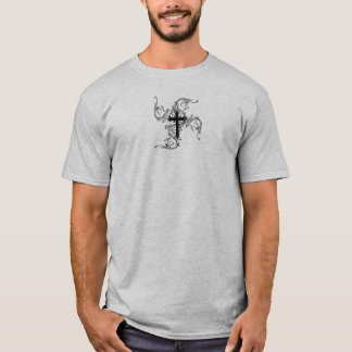 Men's Swirl Cross Design Grey Short Sleeve T-Shirt