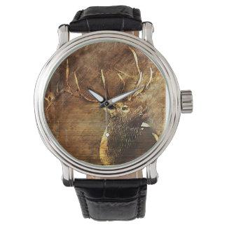 Men's Watch with Bull Elk Illustration