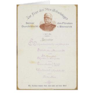 Menu at Prince von Bismarcks Card