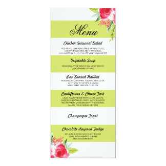 Menu Floral Lime Gree Red Floral Wedding Reception Card