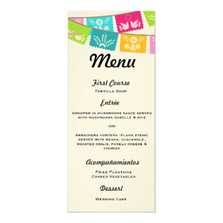 Menu for Wedding or Fiesta Card