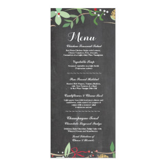 Menu Wedding Reception Rustic Chalk Winter Cards