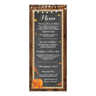 Menu Wedding Reception Rustic Wood Pumpkin Fall Card