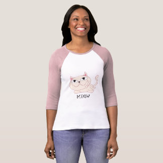 MEOW: Pink Cat Chillin' T-Shirt