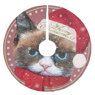 Meowy Santa Cat Christmas Tree Skirt