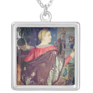Merchant's woman with a mirror silver plated necklace