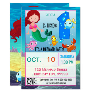 Mermaid 1st Birthday Party Custom Card