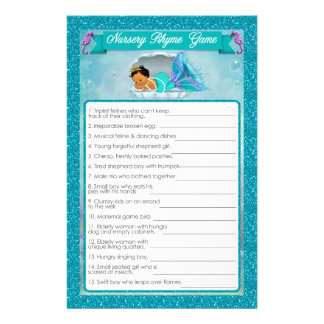 Mermaid Baby Shower Nursery Rhyme Game #136 Flyer